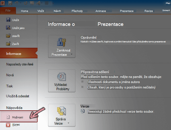 V PowerPointu 2010 vyberte na pásu karet kartu Soubor a klikněte na Možnosti