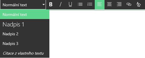 Snímek obrazovky s oblastí pro úpravu v editoru formátovaného textu na SharePointu