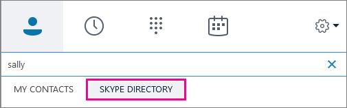 Když je zvýrazněna možnost Adresář Skypu, můžete hledat osoby súčtem Skype.