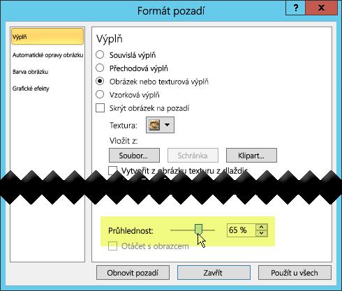 Dialogové okno Formát pozadí má posuvník průhlednosti pro úpravy obrázku.
