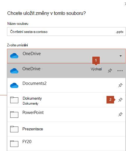 V dialogovém okně Uložit v Microsoft Office 365 se zobrazí seznam složek.