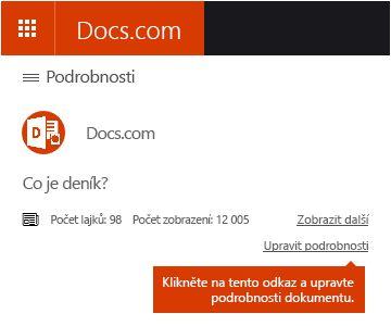Možnost úpravy podrobností na Docs.com