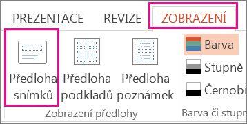 Na kartě Zobrazení klikněte na Předloha snímků.