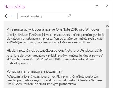Snímek obrazovky s podoknem nápovědy k OneNotu, které zobrazuje výsledky hledání značek poznámek.