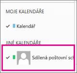 Outlook Web App s vybraným kalendářem sdílené poštovní schránky