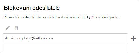 Snímek obrazovky s polem Blokovaní odesílatelé