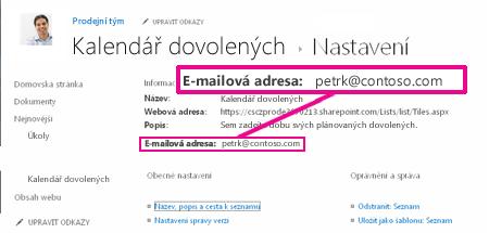Přidání souborů odesláním e-mailu