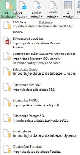 Možnosti Power Query z databáze