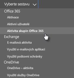 Snímek obrazovky: Vybrat sestavu – skupiny Office 365