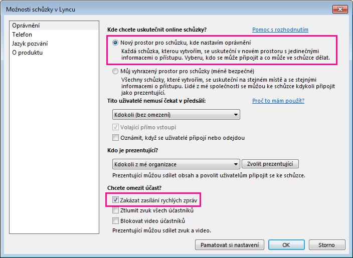 Snímek obrazovky s oknem možnosti zakázání rychlých zpráv při schůzce v Lyncu