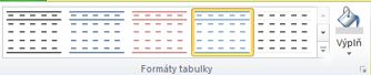 Table formatting interface in Publisher 2010