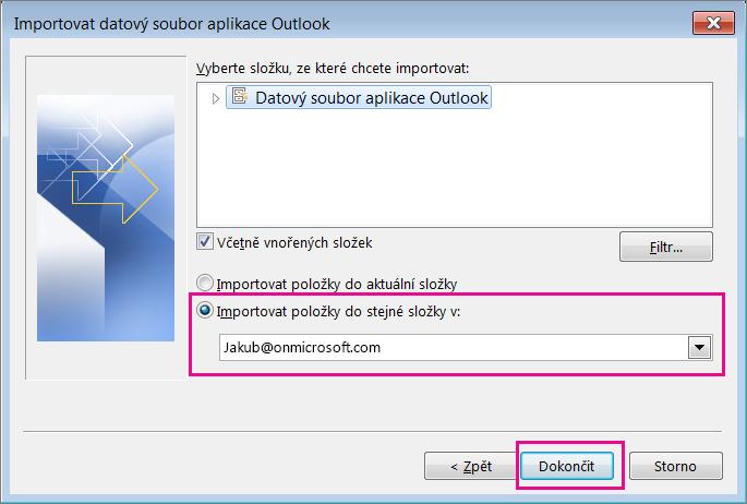 Zvolte Dokončit, aby se soubor PST Outlooku importoval do schránky Office 365.