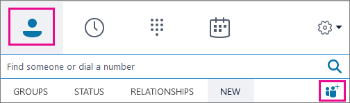 Zvolte Kontakty > přidejte ikonu kontaktů.