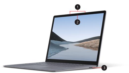 Přední strana zařízení Surface Laptop 3