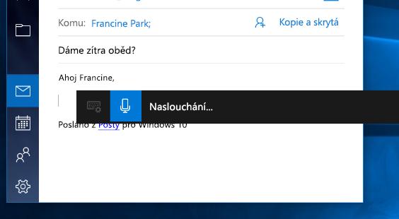 Panel nástrojů Diktování ve Windows