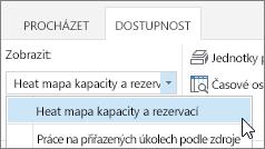 V seznamu Zobrazení zvolte heat mapu Kapacita a rezervování zdrojů