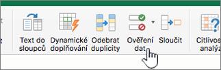 Panel nástrojů v Excelu – nabídka Data – vybraná možnost Ověření dat
