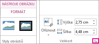 Ikona pro otevření dialogového okna ve skupině Velikost na kartě Nástroje obrázku – Formát