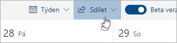 Snímek obrazovky s tlačítkem Sdílet