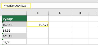 Buňka F23 se vzorcem =HODNOTA(E23) a výsledkem 107,71
