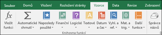Excel – karta Vzorce na pásu karet