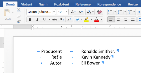 Příklad textu zarovnaného k zarážkám tabulátoru na pravítku