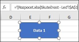 Vyberte obrazec zobrazíte název odkazu v řádku vzorců