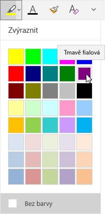 Tlačítko Zvýraznit s rozevírací nabídkou, kde je vidět vybraná tmavě fialová barva