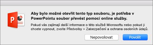 Zobrazuje upozornění na ochranu osobních údajů při otevření souboru ODF v PowerPointu 2016 pro Mac