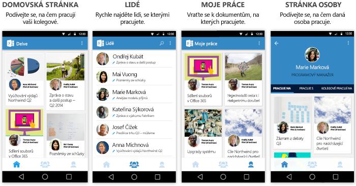 Obrazovky Delvu pro Android