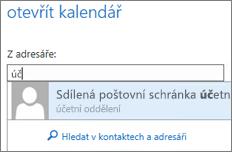 Dialogové okno Otevřít kalendář v Outlook Web Appu