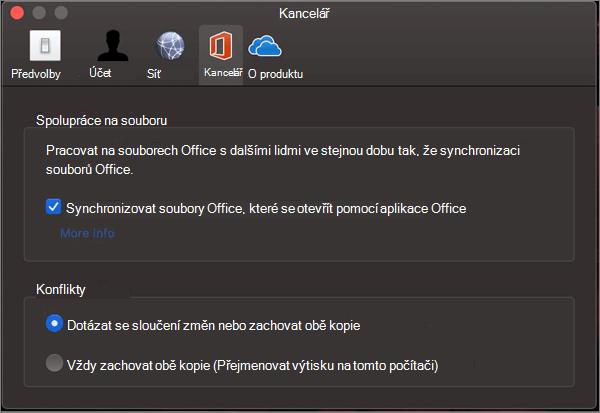 Karta Office v Microsoft OneDrivu s vybranou možností synchronizovat Office