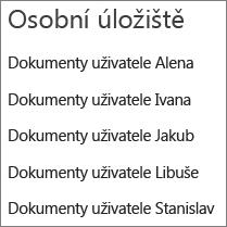 Seznam odkazů na úložiště OneDrive uživatelů