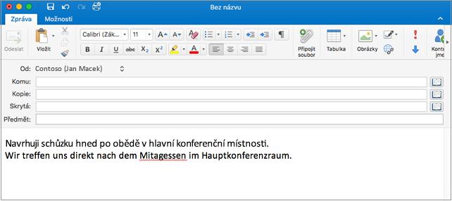Anglická věta a německá věta s chybně napsaným slovem v němčině. Chybně napsané slovo je červeně podtržené.