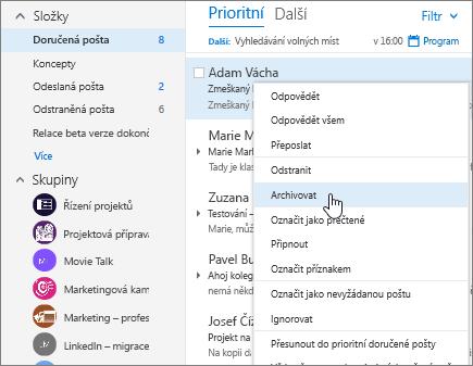 Snímek obrazovky složky Doručená pošta, s nabídkou pravým tlačítkem myši na zprávu, s archivovat vybrané.