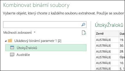 Kombinování binární dialogové okno zobrazující dostupné sešitů aplikace Excel vyberte cílový primární sloučení