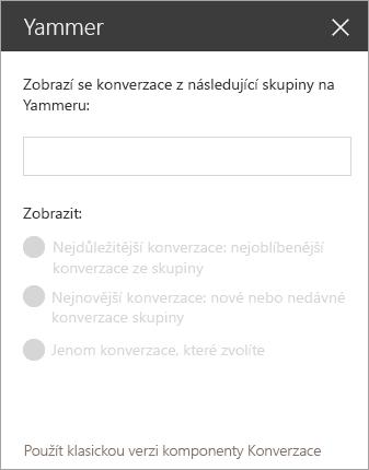 Yammer webové části obrazovky s panelem hledání