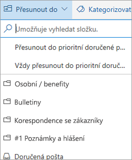 Prioritní doručená pošta v Outlooku na webu