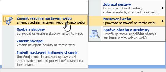 Upravit všechny možnosti nastavení webu klikněte v části Nastavení webu
