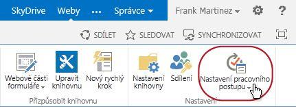 Pás karet se nastavení pracovního postupu buttonc Schvalte dokument