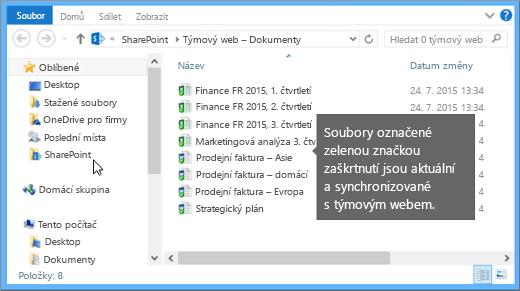 Pomocí Průzkumníka souborů přejděte k synchronizovanému souboru na vašem počítači. Je v sharepointové složce.