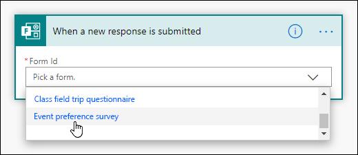 Výběr formuláře pro aktivační událost v Power automatizovat