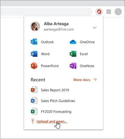 Obrázek webového prohlížeče sotevřeným rozšířením Office, ke kterému je uživatel přihlášený