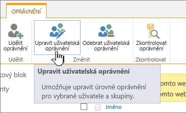 Pokud chcete změnit úroveň oprávnění, klikněte na Upravit oprávnění.