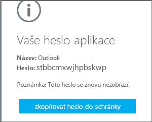 Zvolte Zkopírovat heslo do schránky.
