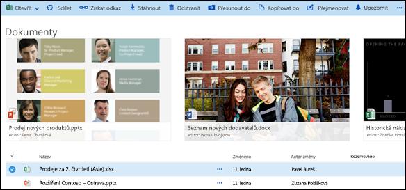Office 365 Nabídka dokumentu a složky