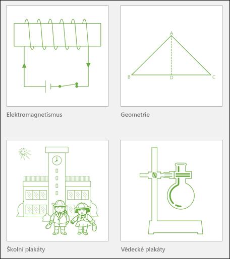 Miniatury čtyř výukových šablon Visia od Microsoftu