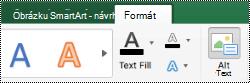 Tlačítko alternativní text pro obrázky SmartArt v Excelu pro Mac
