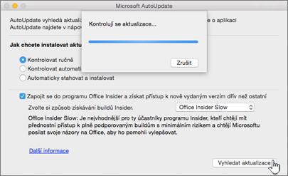 Vyhledání aktualizací pro program Insider Slow na Macu