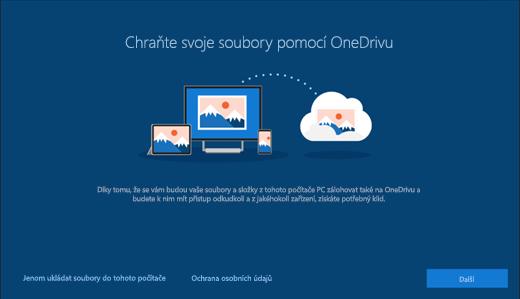 Snímek obrazovky Chraňte svoje soubory pomocí OneDrivu v nastavení Windows 10
